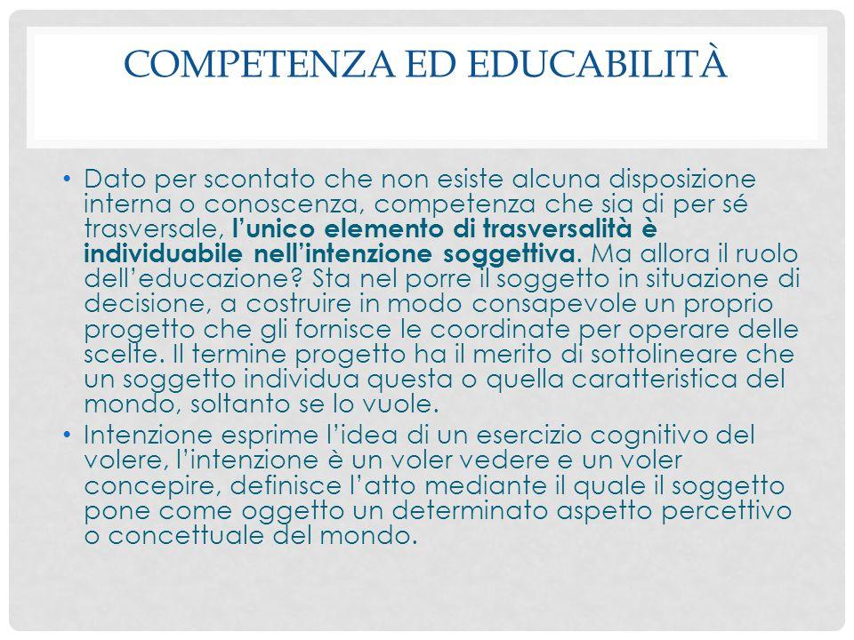 Competenza ed educabilità