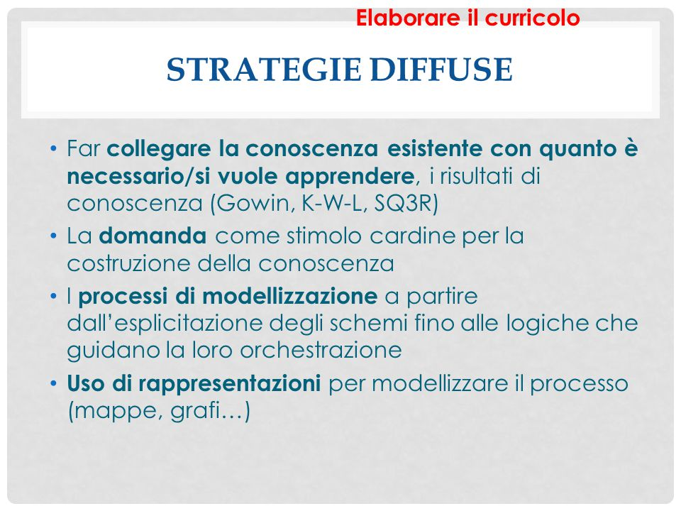 Strategie diffuse Elaborare il curricolo