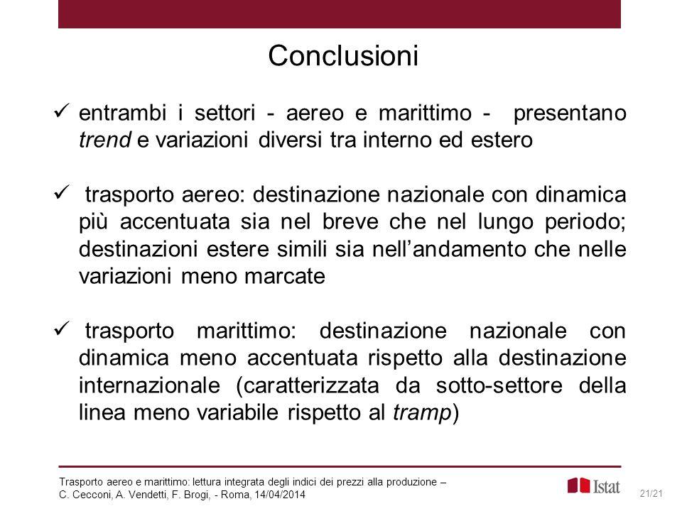 Conclusioni entrambi i settori - aereo e marittimo - presentano trend e variazioni diversi tra interno ed estero.