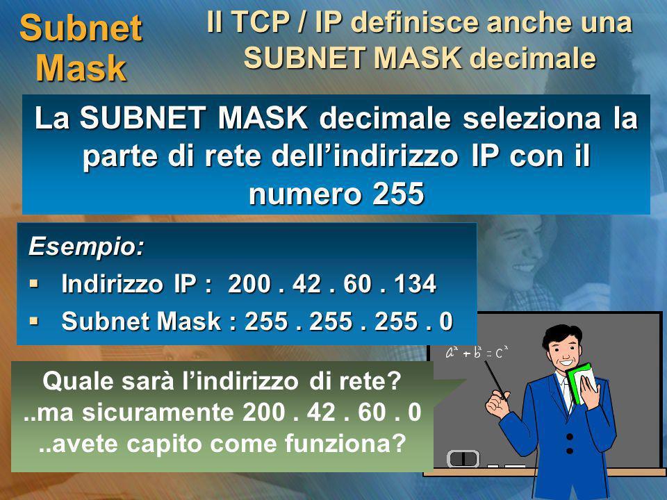 Il TCP / IP definisce anche una SUBNET MASK decimale