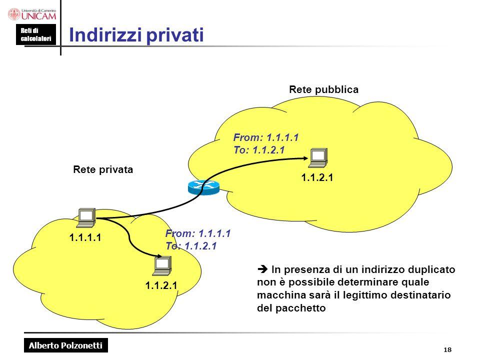 Indirizzi privati Rete pubblica Rete privata 1.1.2.1 From: 1.1.1.1