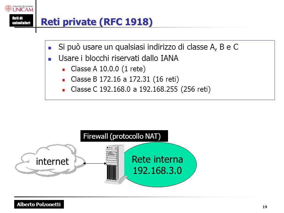 Reti private (RFC 1918) Rete interna 192.168.3.0 internet
