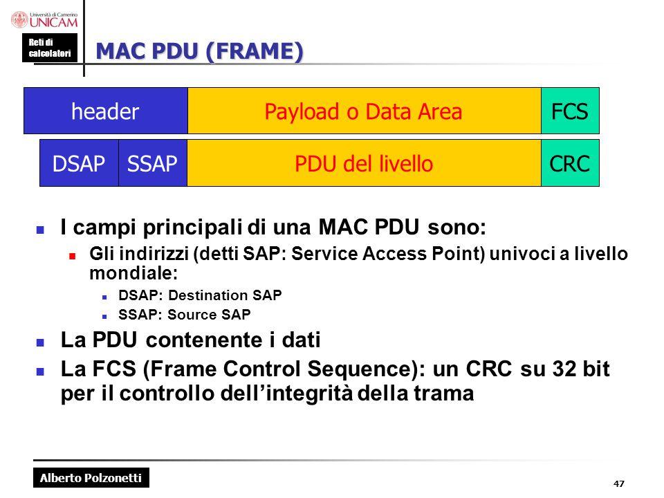 I campi principali di una MAC PDU sono: