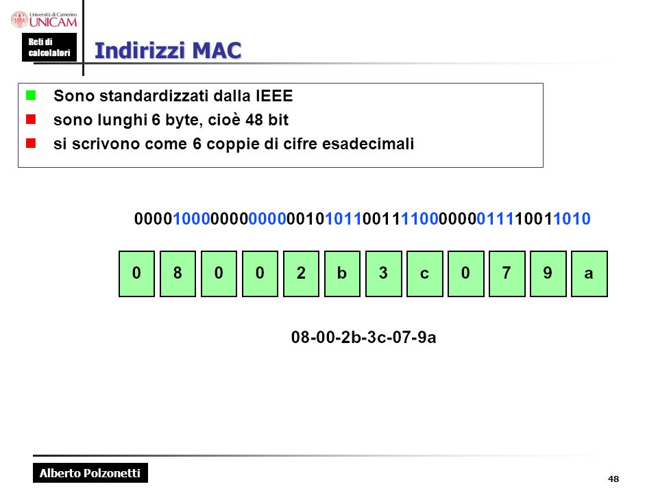 Indirizzi MAC n Sono standardizzati dalla IEEE