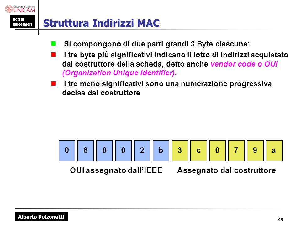 Struttura Indirizzi MAC