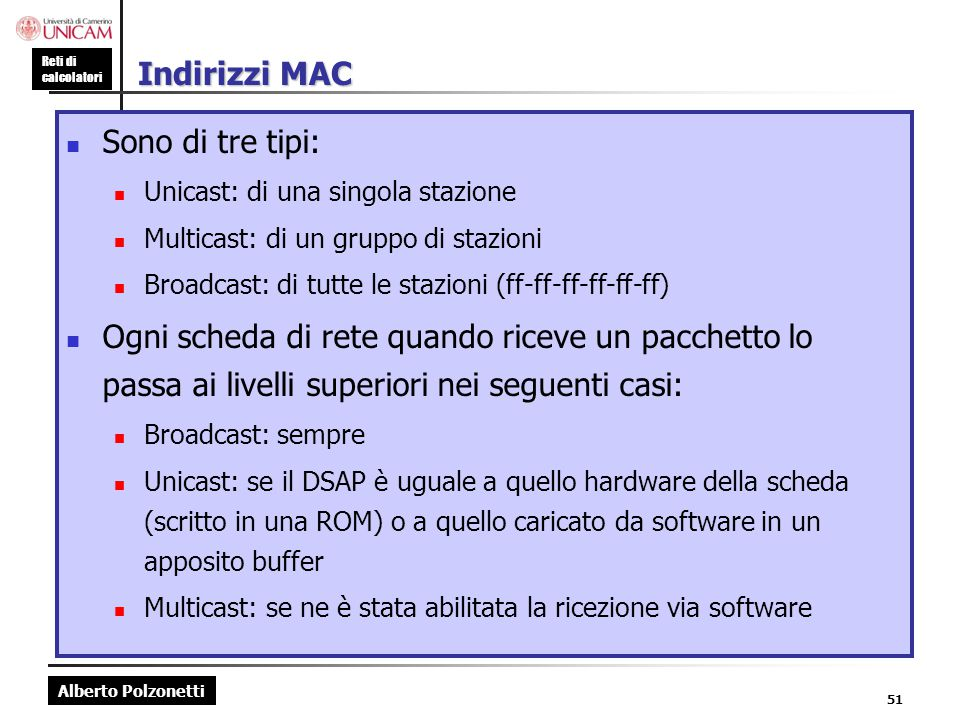 Indirizzi MAC Sono di tre tipi: