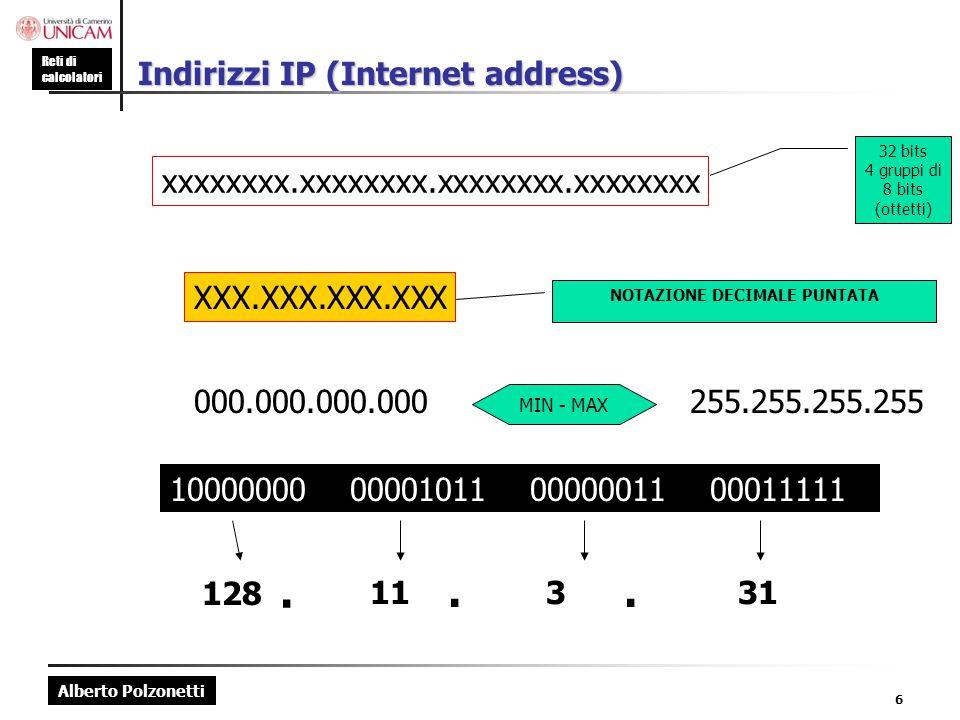 Indirizzi IP (Internet address)
