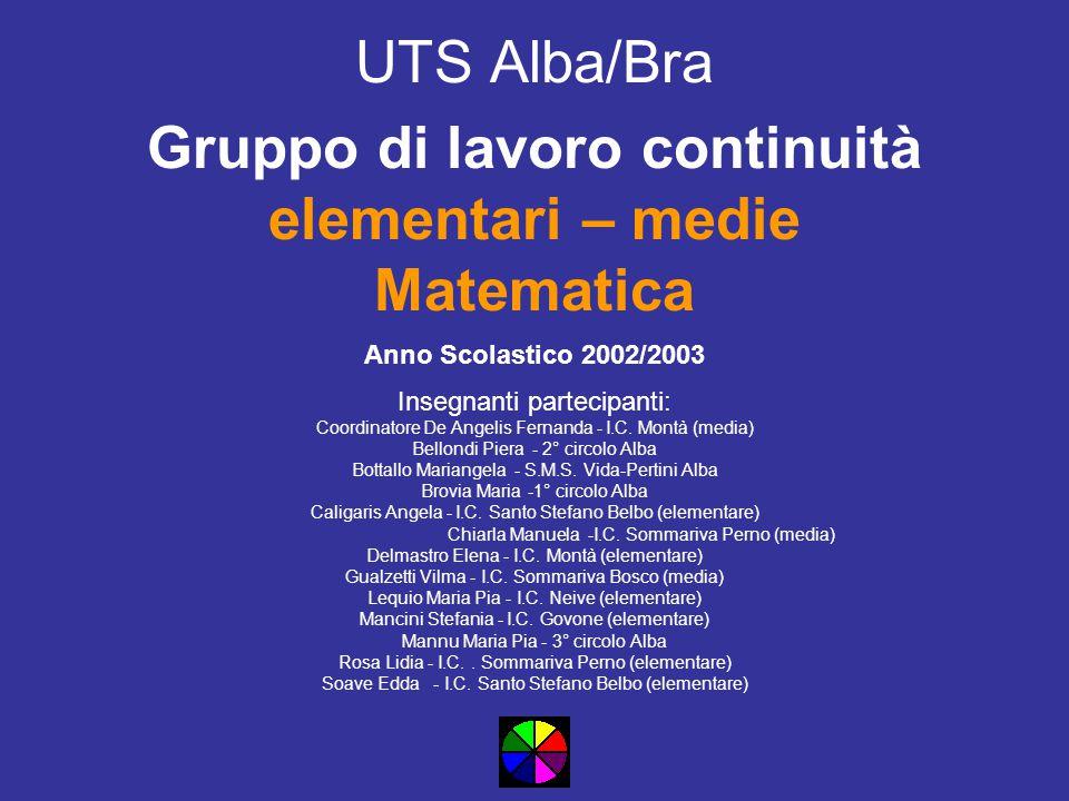 UTS Alba/Bra Gruppo di lavoro continuità elementari – medie Matematica Anno Scolastico 2002/2003 Insegnanti partecipanti: Coordinatore De Angelis Fernanda - I.C.