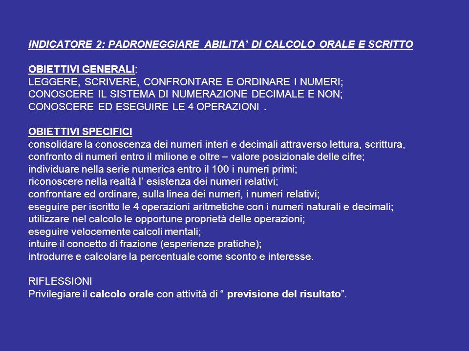 INDICATORE 2: PADRONEGGIARE ABILITA' DI CALCOLO ORALE E SCRITTO OBIETTIVI GENERALI: LEGGERE, SCRIVERE, CONFRONTARE E ORDINARE I NUMERI; CONOSCERE IL SISTEMA DI NUMERAZIONE DECIMALE E NON; CONOSCERE ED ESEGUIRE LE 4 OPERAZIONI .