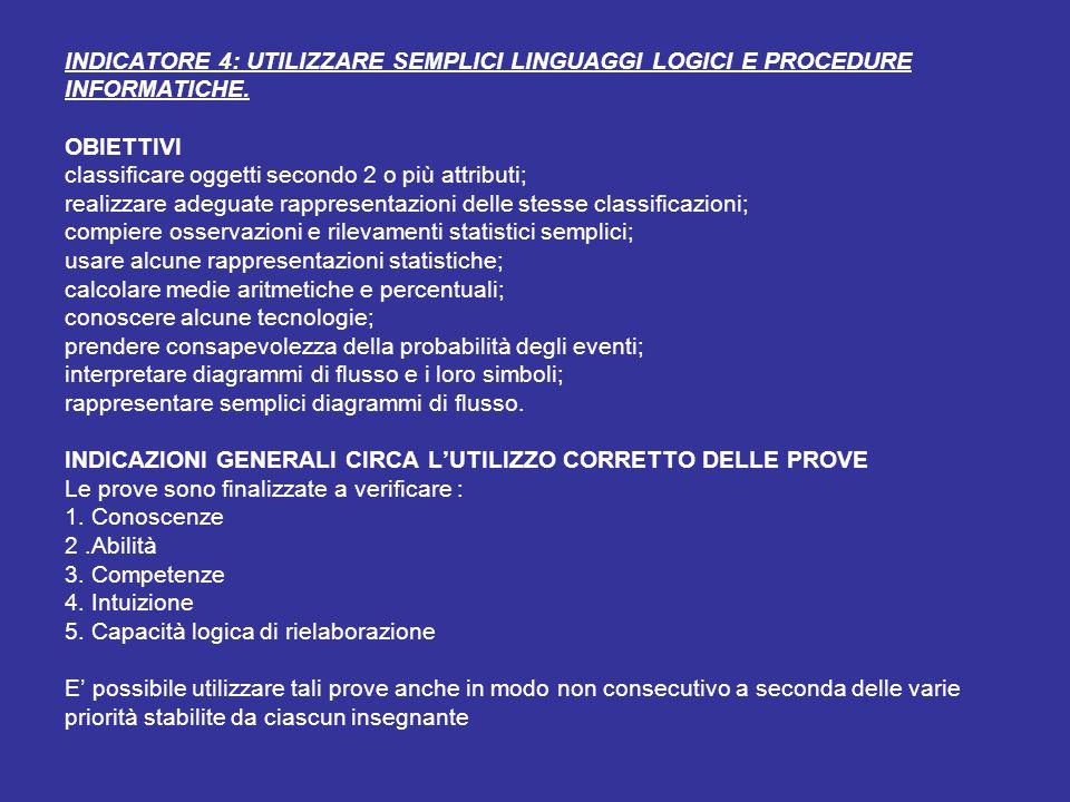 INDICATORE 4: UTILIZZARE SEMPLICI LINGUAGGI LOGICI E PROCEDURE INFORMATICHE.