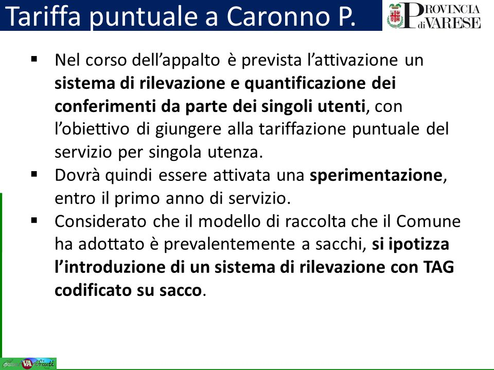Tariffa puntuale a Caronno P.