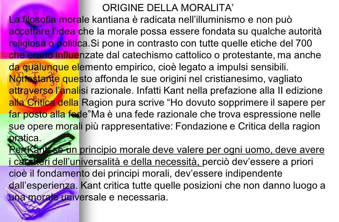 ORIGINE DELLA MORALITA'
