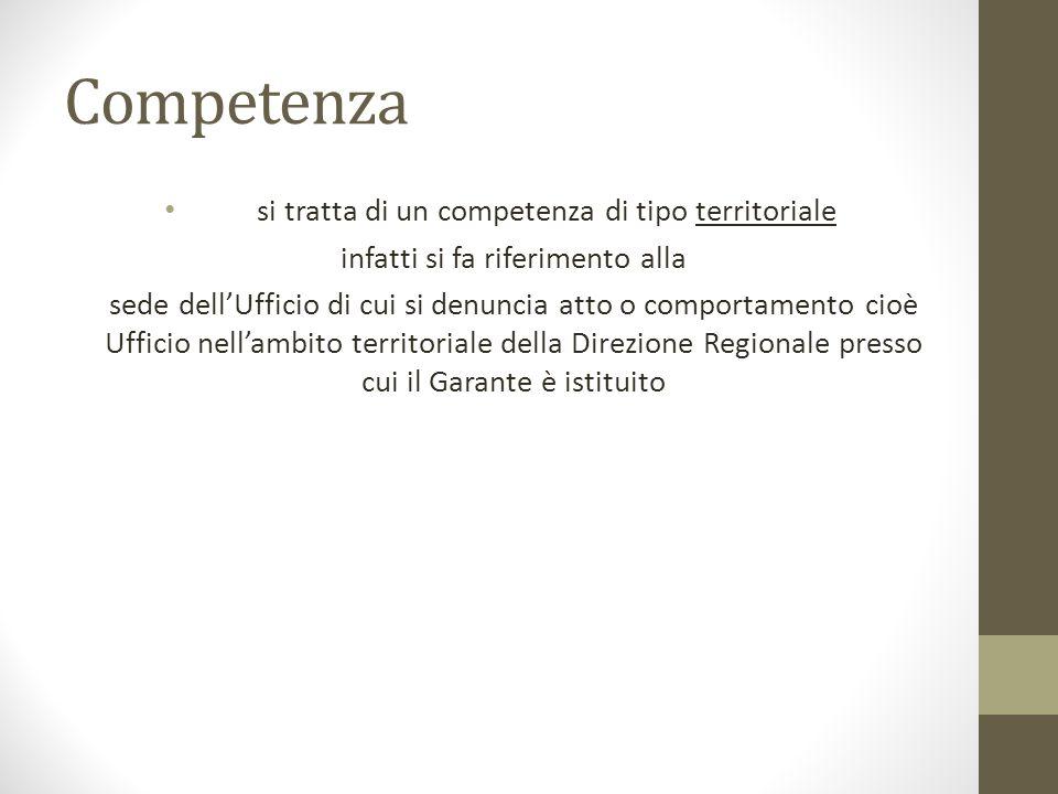 Competenza si tratta di un competenza di tipo territoriale