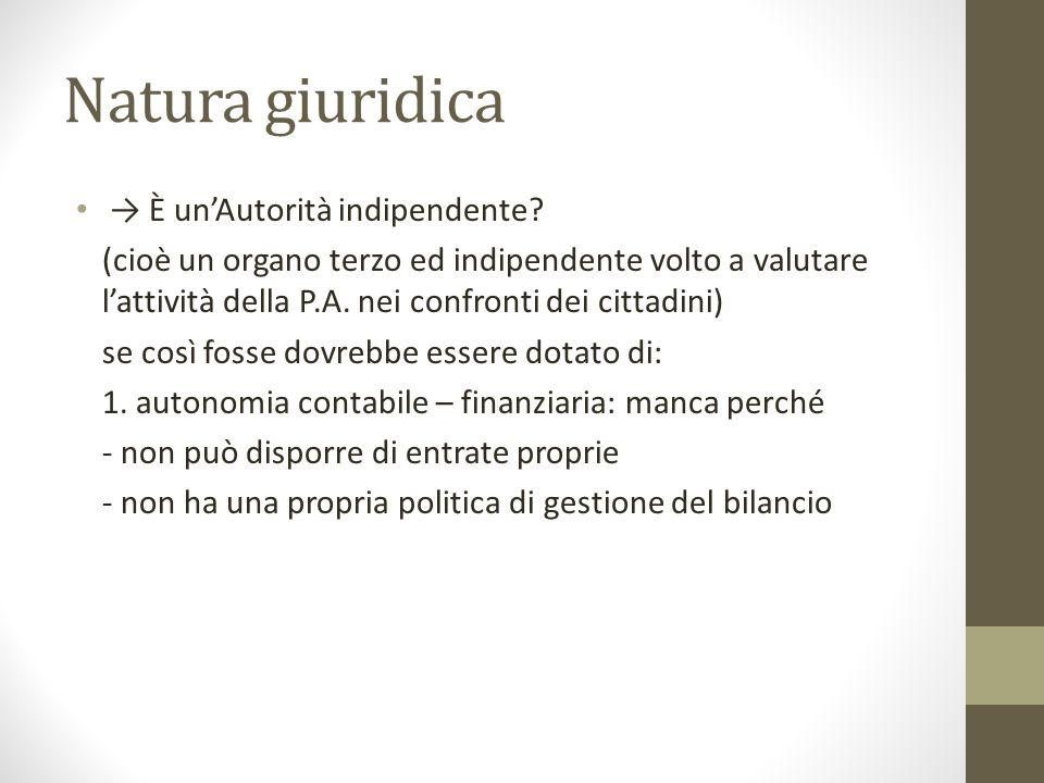 Natura giuridica → È un'Autorità indipendente