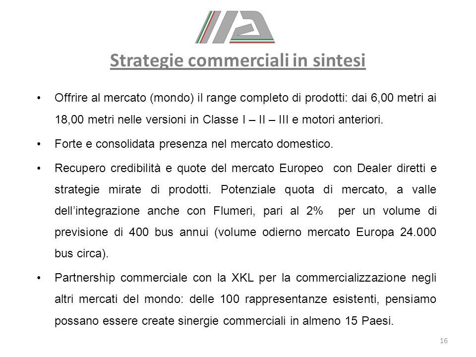Strategie commerciali in sintesi