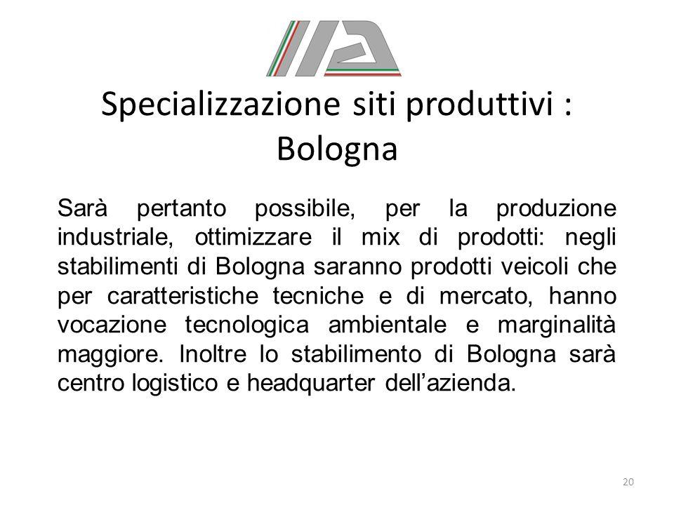 Specializzazione siti produttivi : Bologna