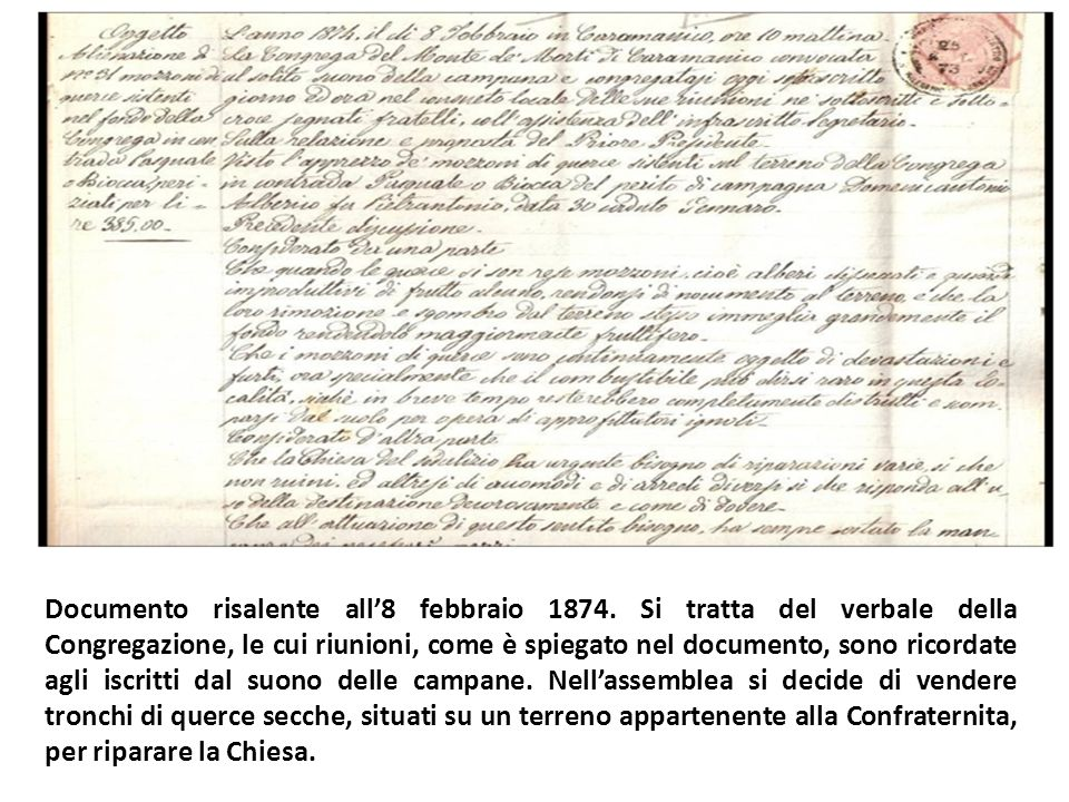 Documento risalente all'8 febbraio 1874