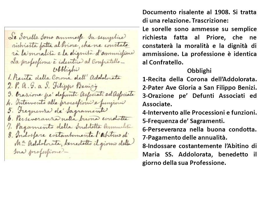 Documento risalente al 1908. Si tratta di una relazione. Trascrizione: