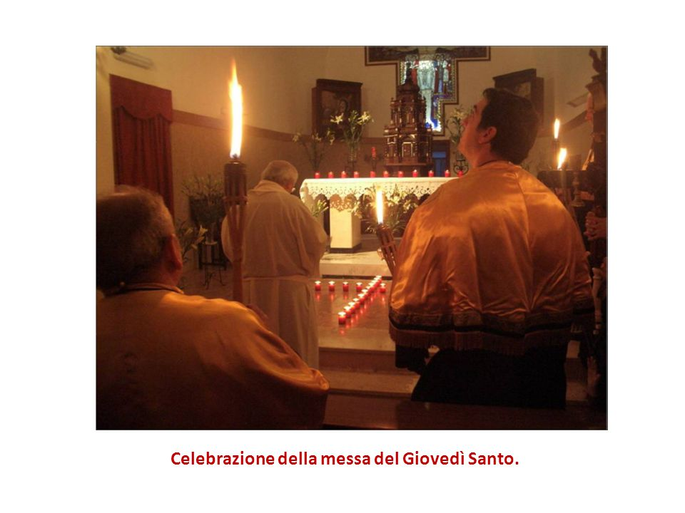 Celebrazione della messa del Giovedì Santo.