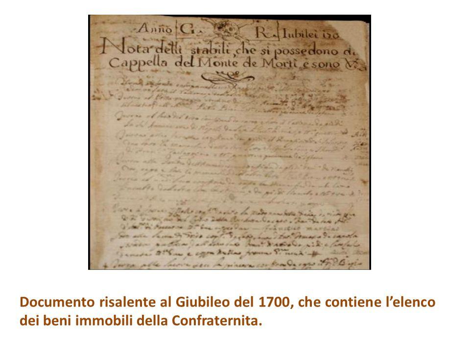 Documento risalente al Giubileo del 1700, che contiene l'elenco dei beni immobili della Confraternita.