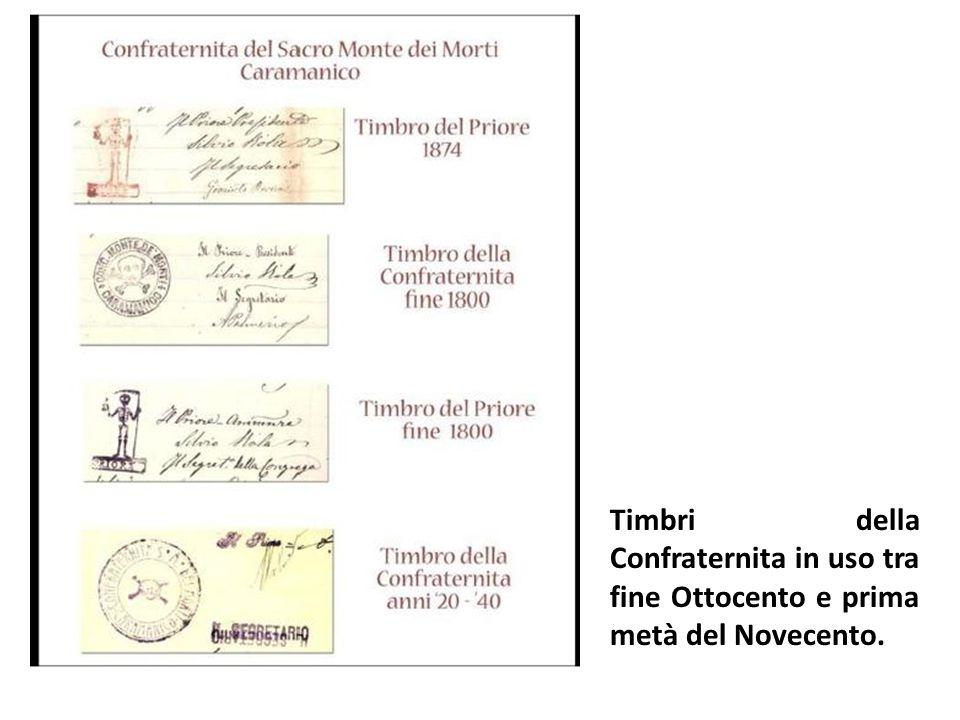 Timbri della Confraternita in uso tra fine Ottocento e prima metà del Novecento.