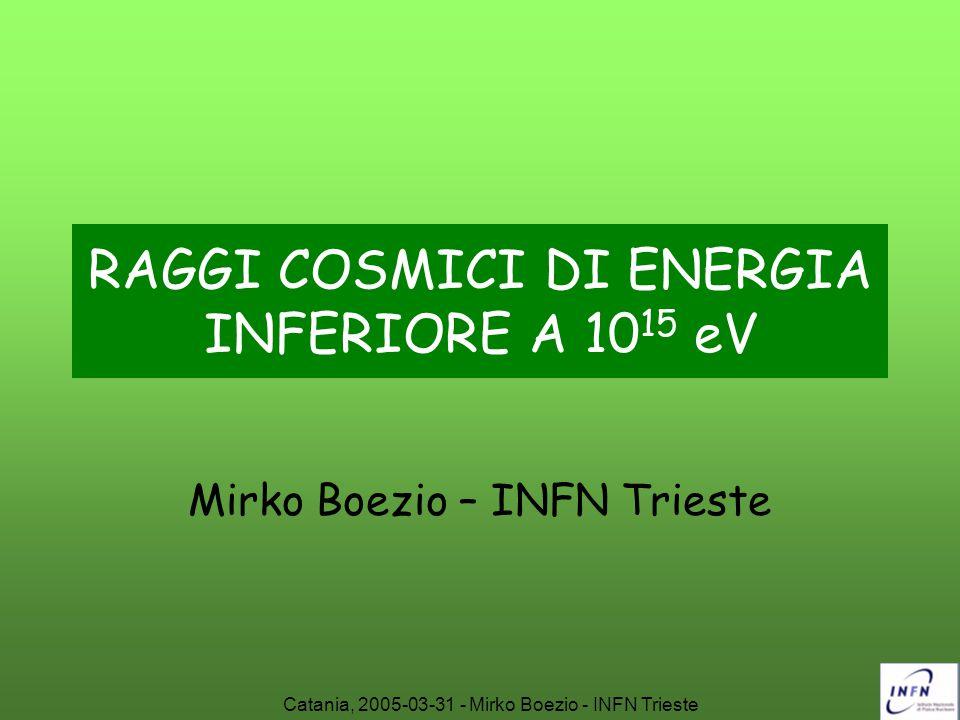 RAGGI COSMICI DI ENERGIA INFERIORE A 1015 eV