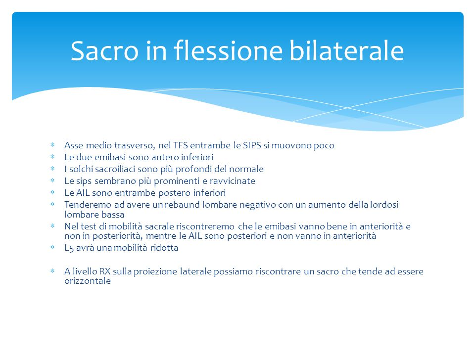 Sacro in flessione bilaterale