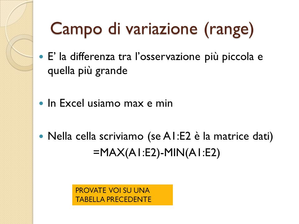 Campo di variazione (range)