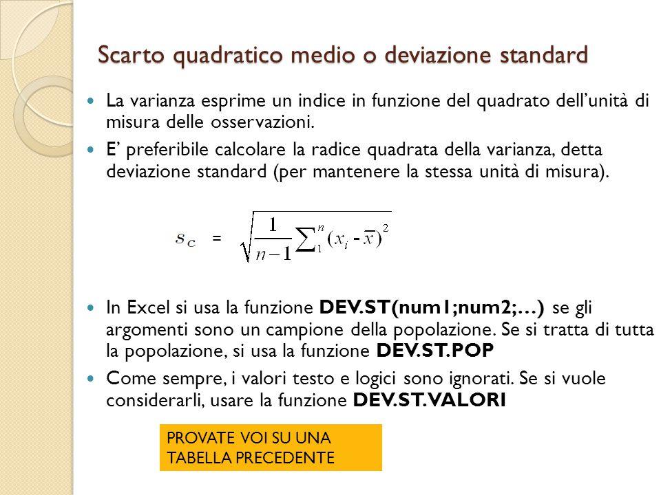 Scarto quadratico medio o deviazione standard
