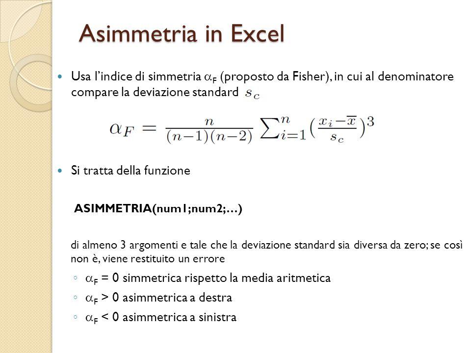 Asimmetria in Excel Usa l'indice di simmetria aF (proposto da Fisher), in cui al denominatore compare la deviazione standard.