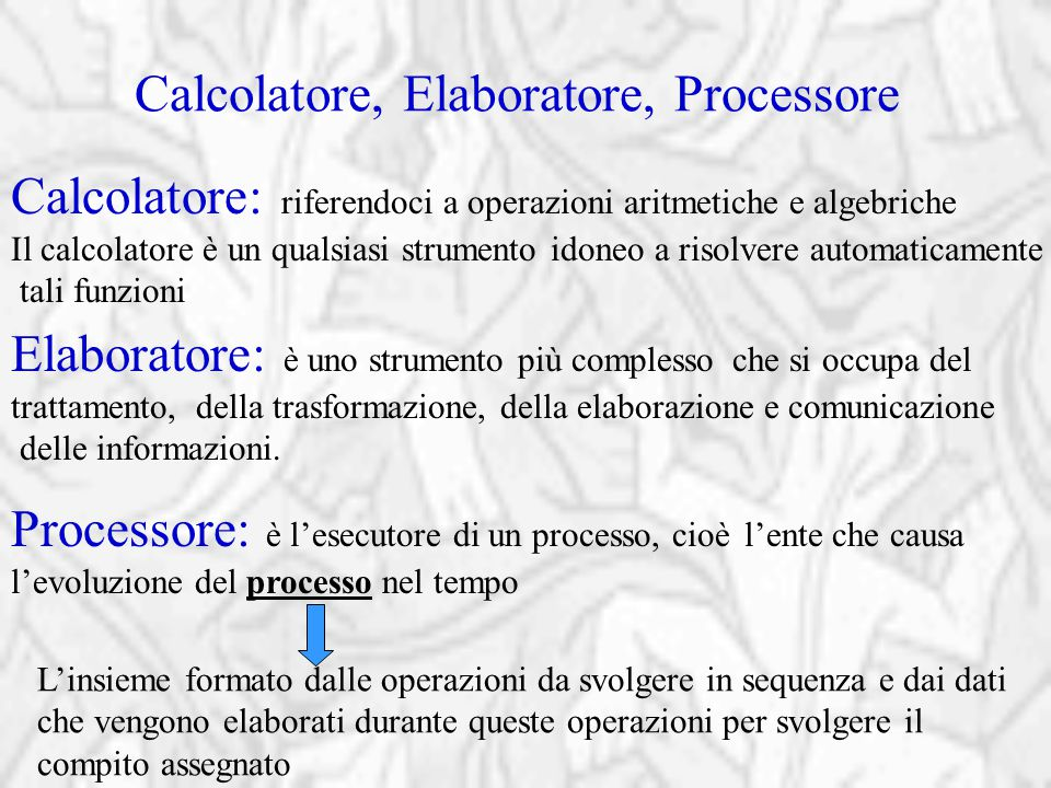 Calcolatore, Elaboratore, Processore