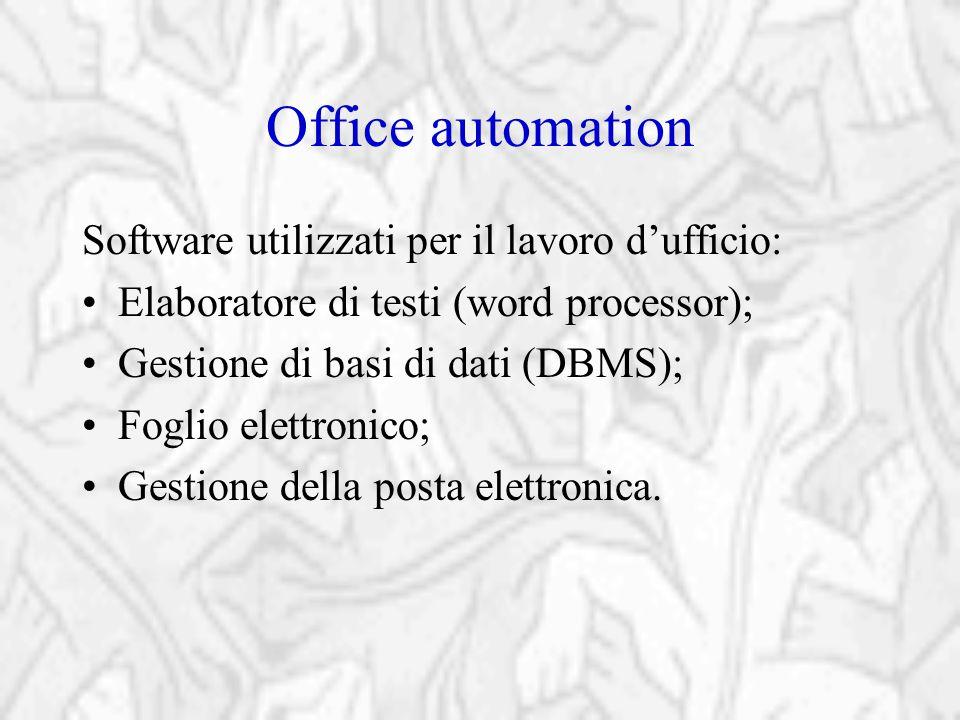 Office automation Software utilizzati per il lavoro d'ufficio: