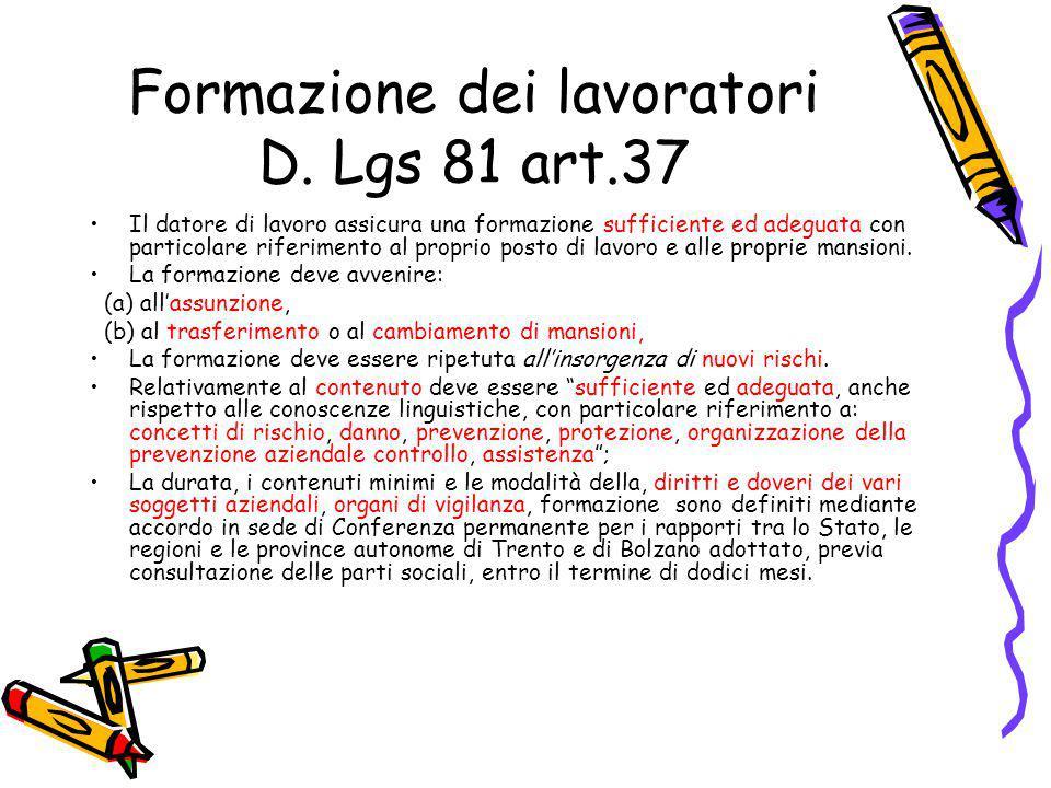 Formazione dei lavoratori D. Lgs 81 art.37