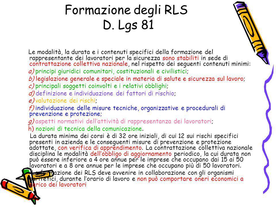 Formazione degli RLS D. Lgs 81