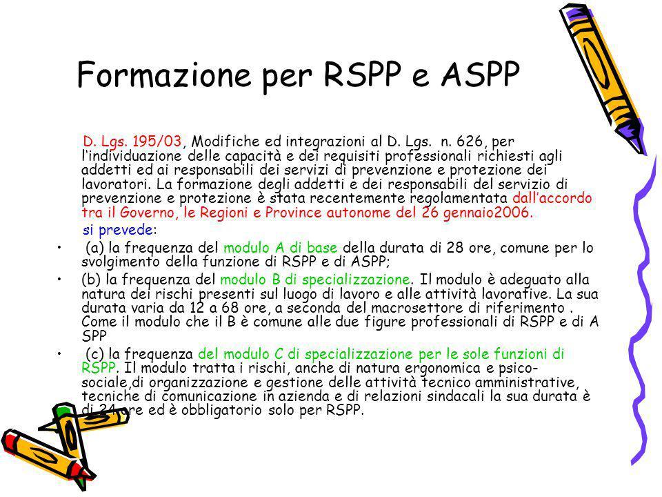 Formazione per RSPP e ASPP