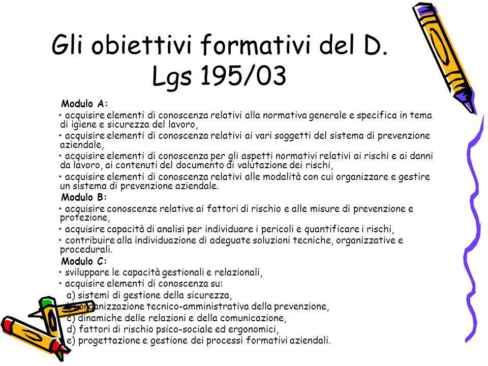 Gli obiettivi formativi del D. Lgs 195/03