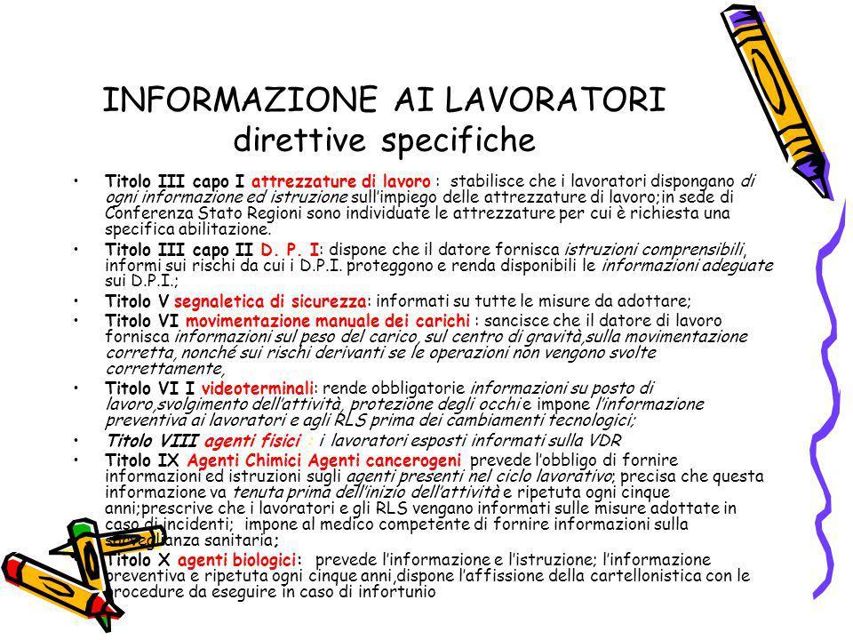 INFORMAZIONE AI LAVORATORI direttive specifiche