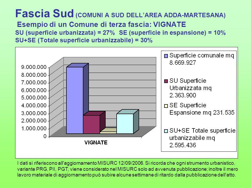 Fascia Sud (COMUNI A SUD DELL'AREA ADDA-MARTESANA) Esempio di un Comune di terza fascia: VIGNATE SU (superficie urbanizzata) = 27% SE (superficie in espansione) = 10% SU+SE (Totale superficie urbanizzabile) = 30%