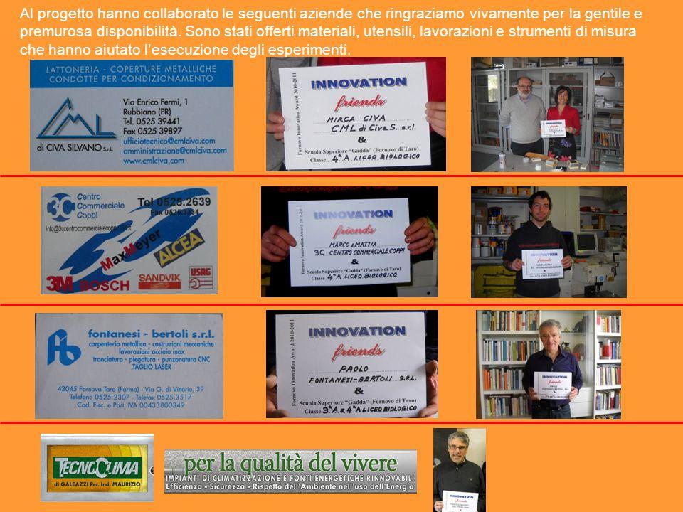 Al progetto hanno collaborato le seguenti aziende che ringraziamo vivamente per la gentile e premurosa disponibilità.