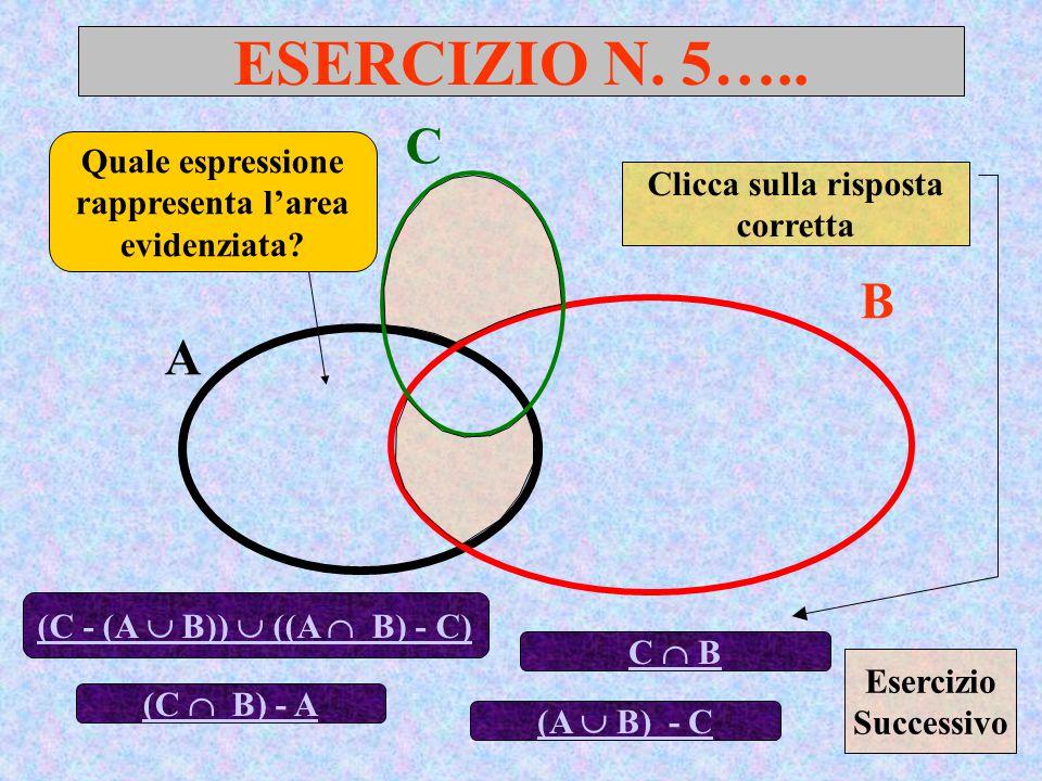 ESERCIZIO N. 5….. C. Quale espressione rappresenta l'area evidenziata Clicca sulla risposta corretta.