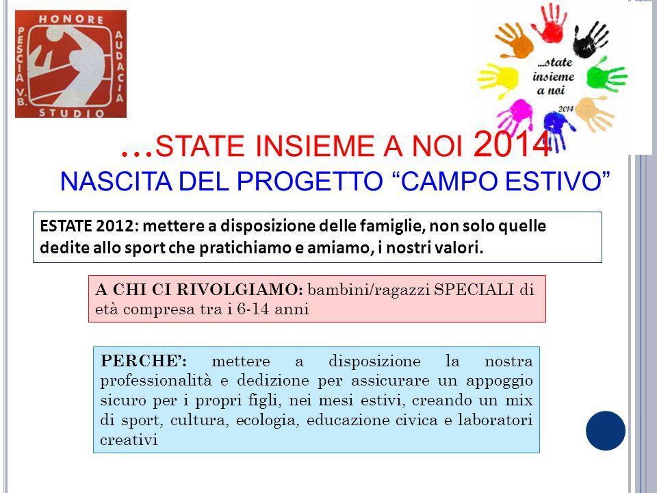 …state insieme a noi 2014 NASCITA DEL PROGETTO CAMPO ESTIVO