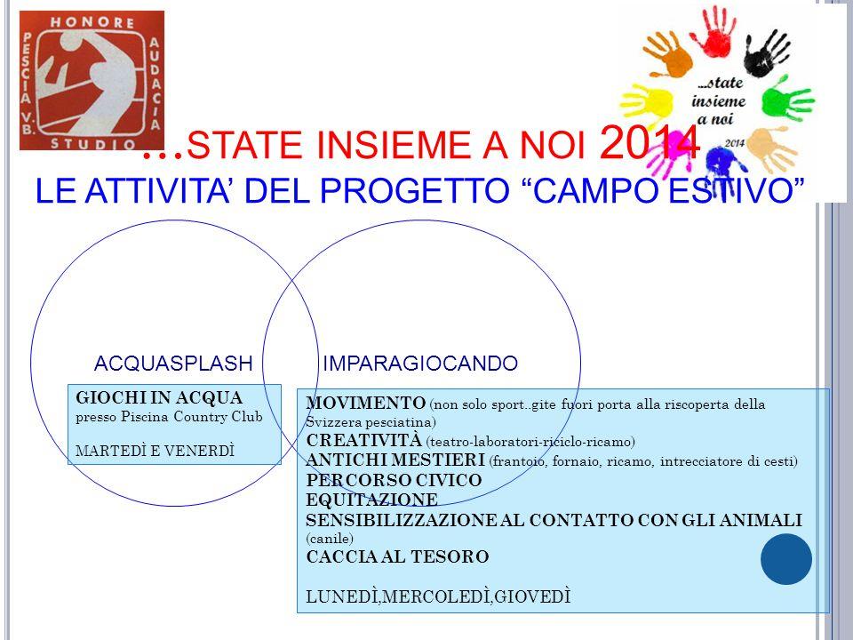 …state insieme a noi 2014 LE ATTIVITA' DEL PROGETTO CAMPO ESTIVO