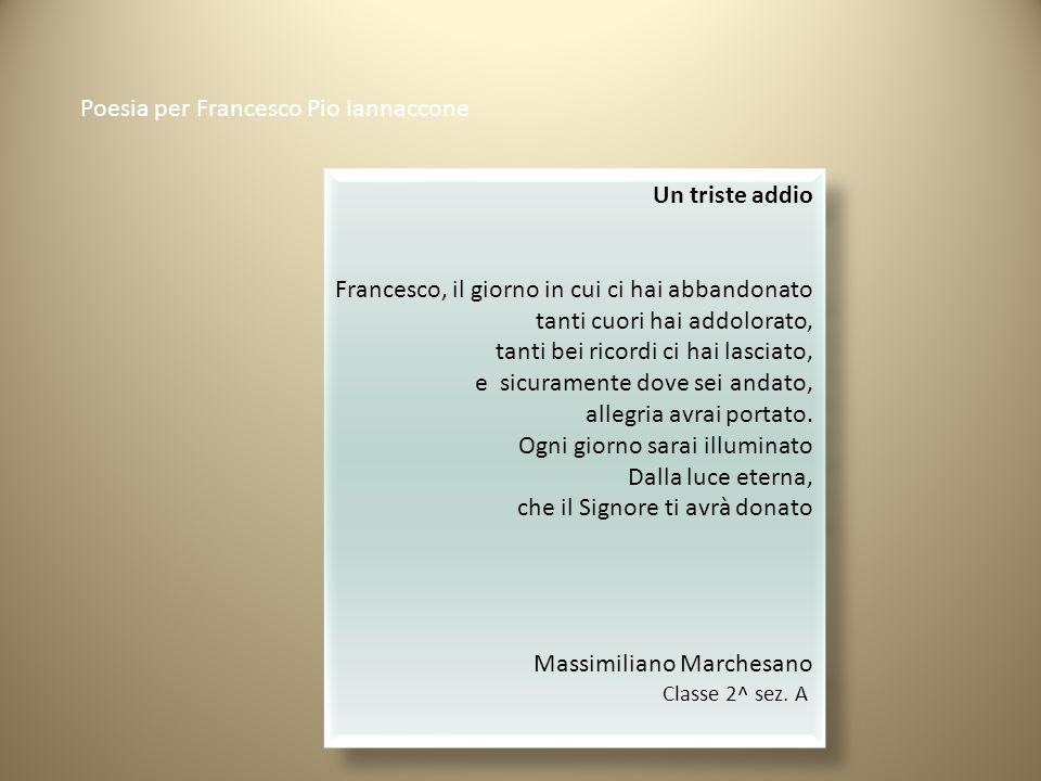 Poesia per Francesco Pio Iannaccone