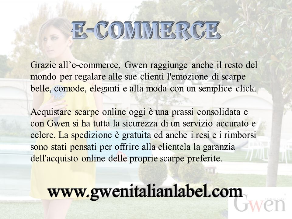 E-commerce www.gwenitalianlabel.com
