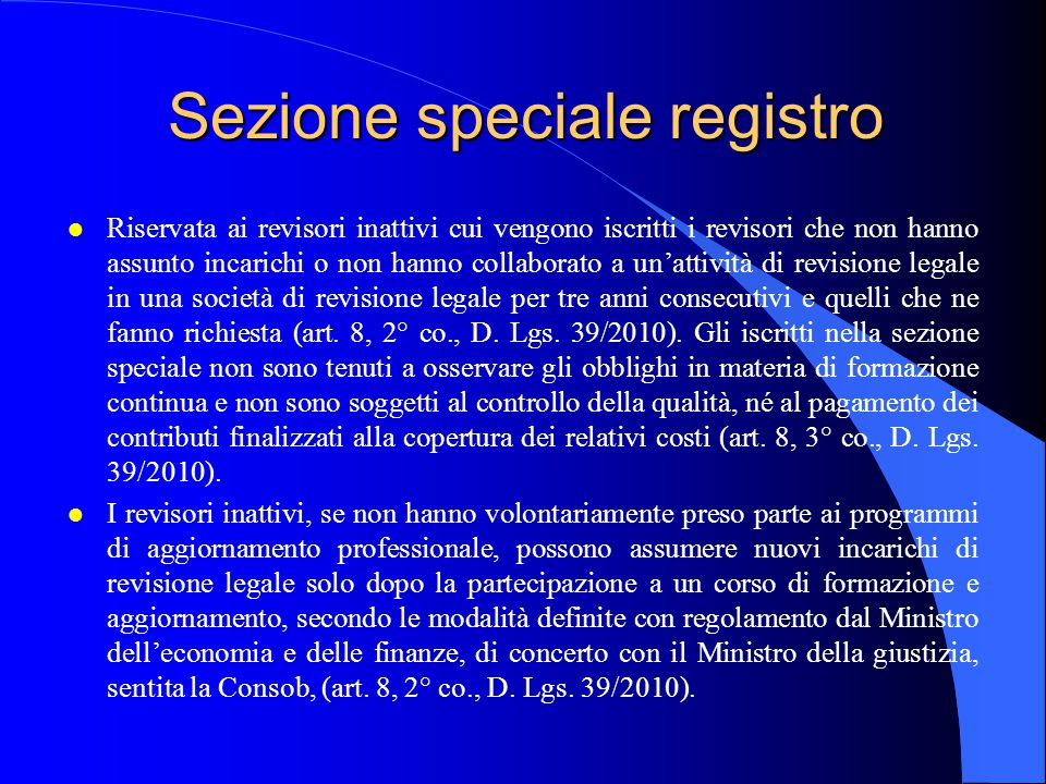 Sezione speciale registro