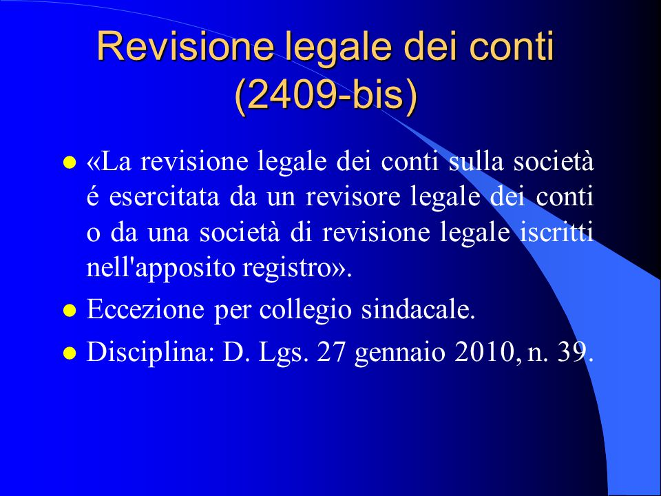 Revisione legale dei conti (2409-bis)