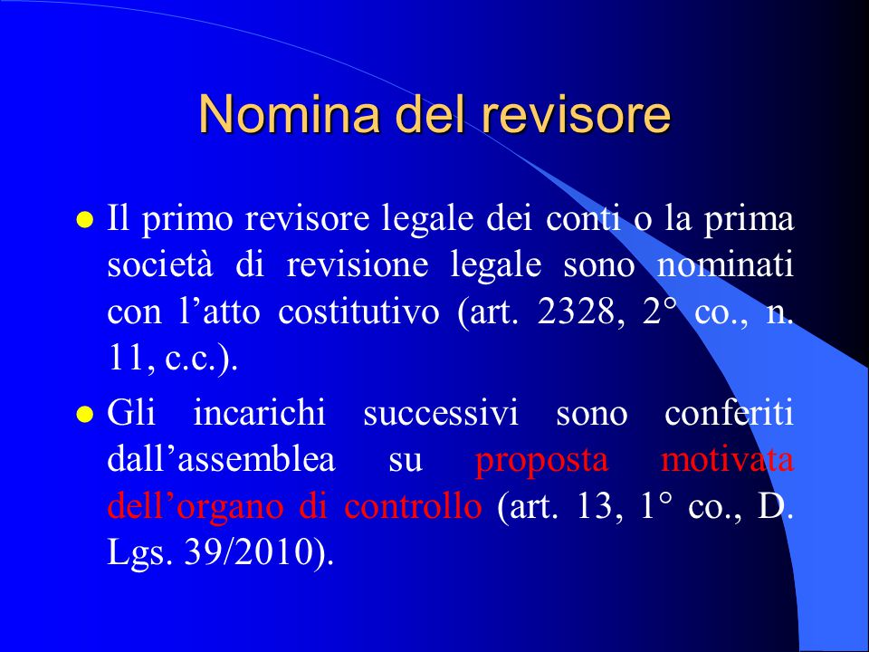 Nomina del revisore