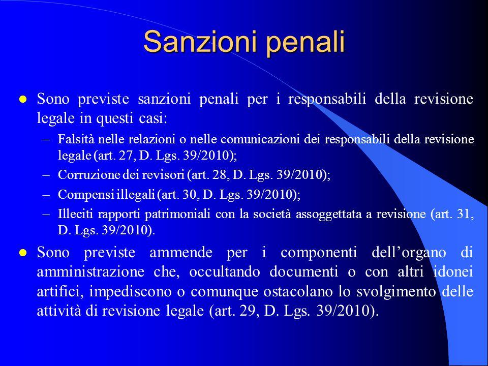 Sanzioni penali Sono previste sanzioni penali per i responsabili della revisione legale in questi casi: