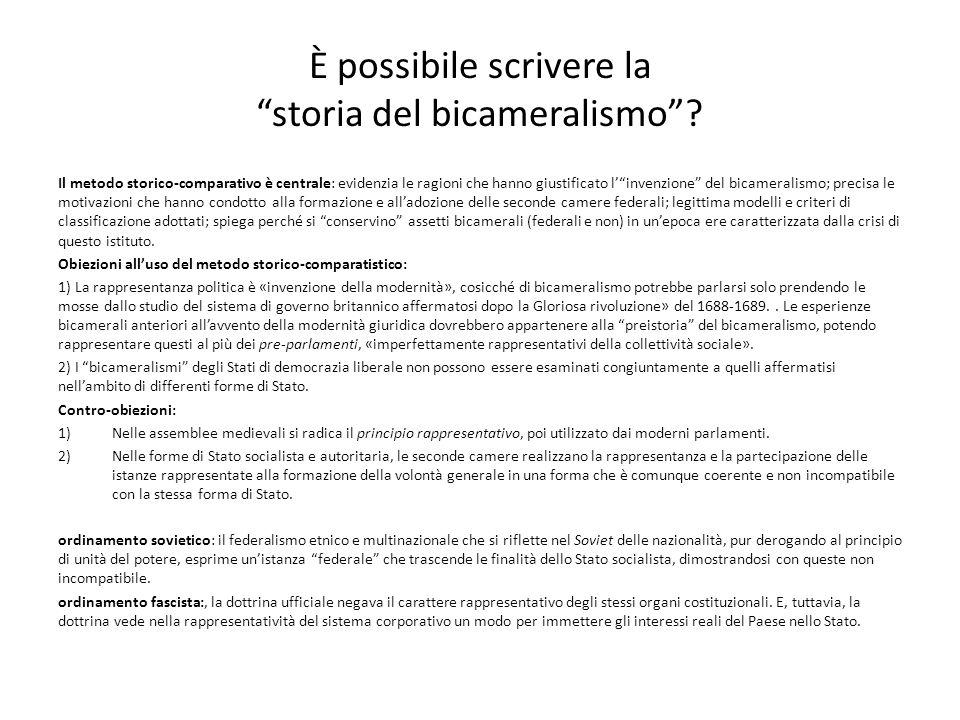 È possibile scrivere la storia del bicameralismo