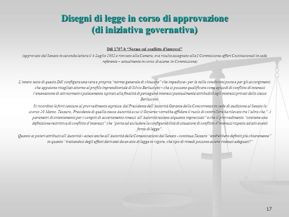 Disegni di legge in corso di approvazione (di iniziativa governativa)
